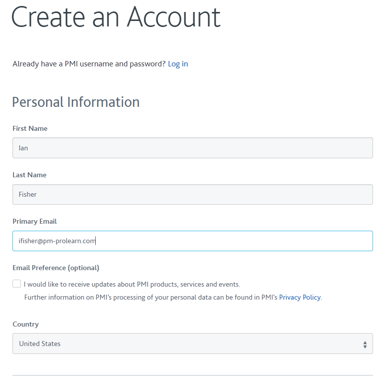 Account creation image 1 PMI Website