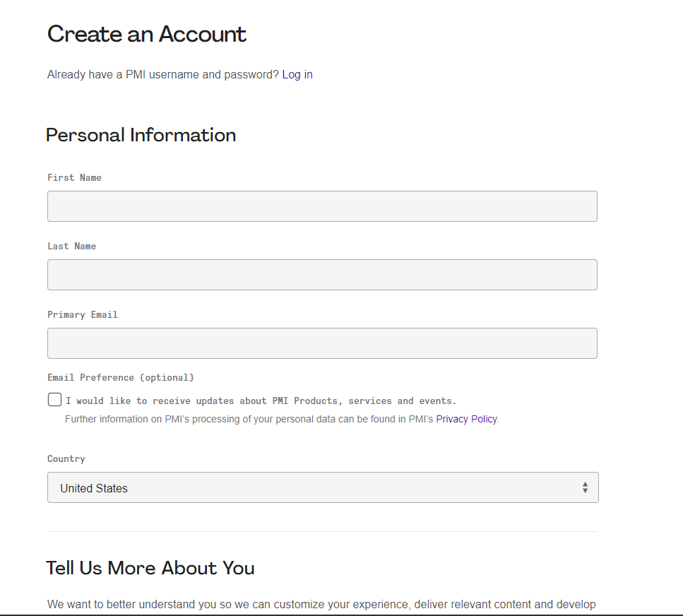 Create an Account - PMI Website