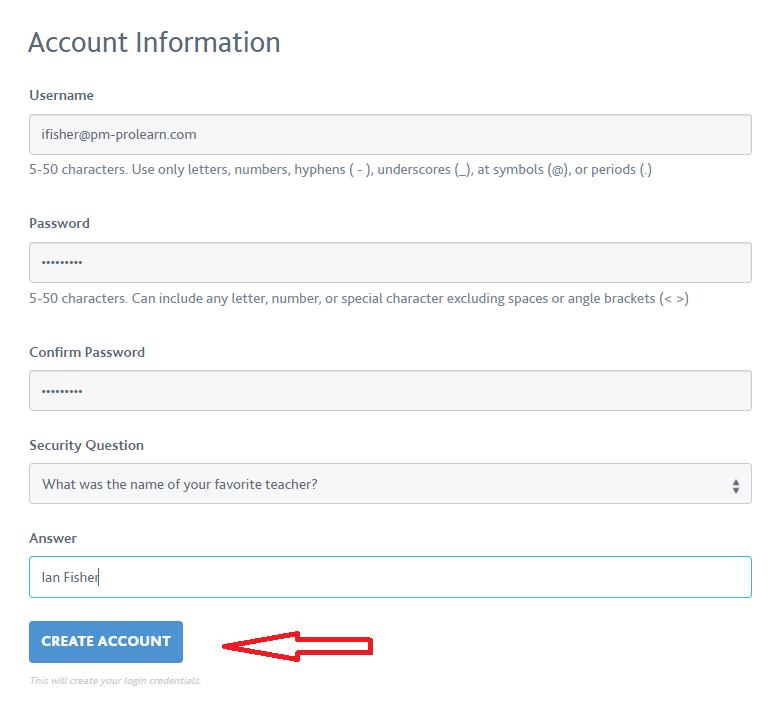 Account creation image 3 PMI Website
