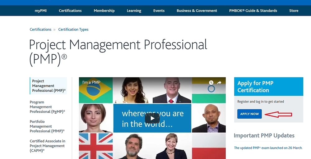PMP Apply now image from PMI Website