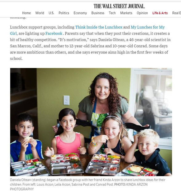 WSJ publication of Kinda Arzon Photography - Healthy School Lunchboxes