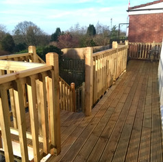 High level decking area with stairs