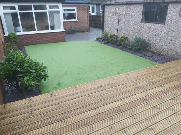 Decking with artificial grass