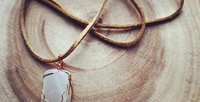 Moonstone Necklace - wire wrapped moonstone necklace suede leather