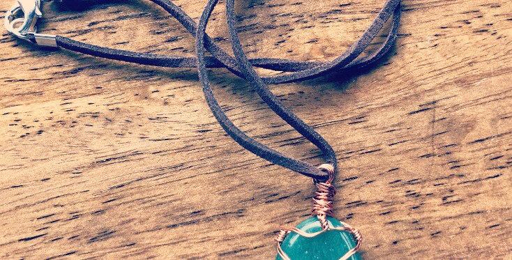 Green Aventurine wire wrap necklace
