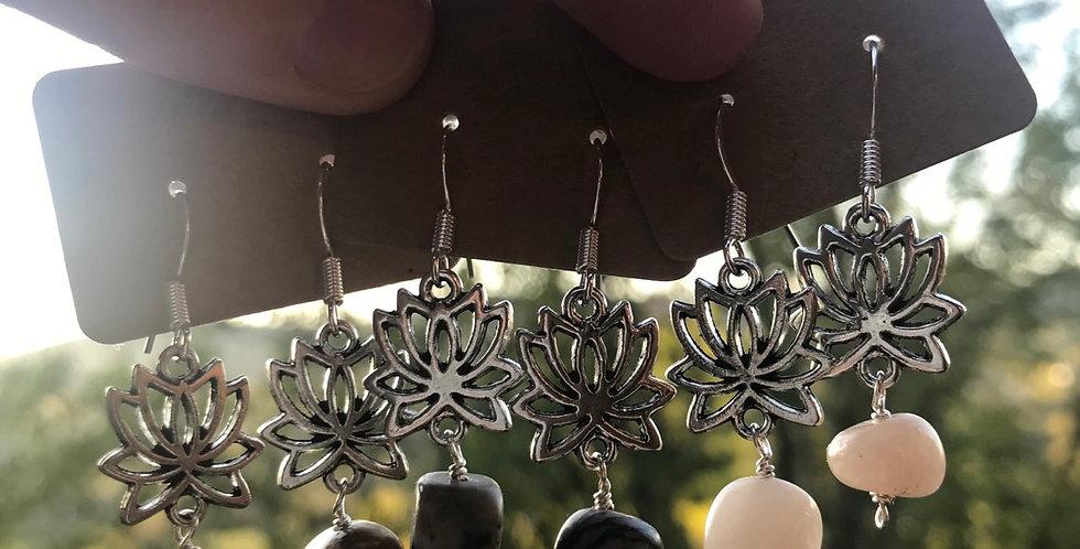 Silver gemstone lotus flower earrings