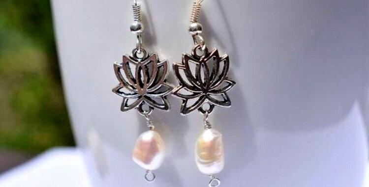 Lotus flower pearl earrings June birthstone