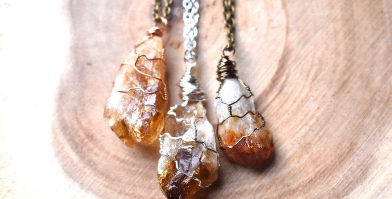 Raw Citrine Point Gemstone Necklace Wrap