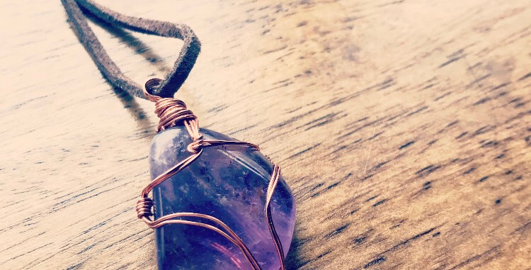 Amethyst wire wrap necklace