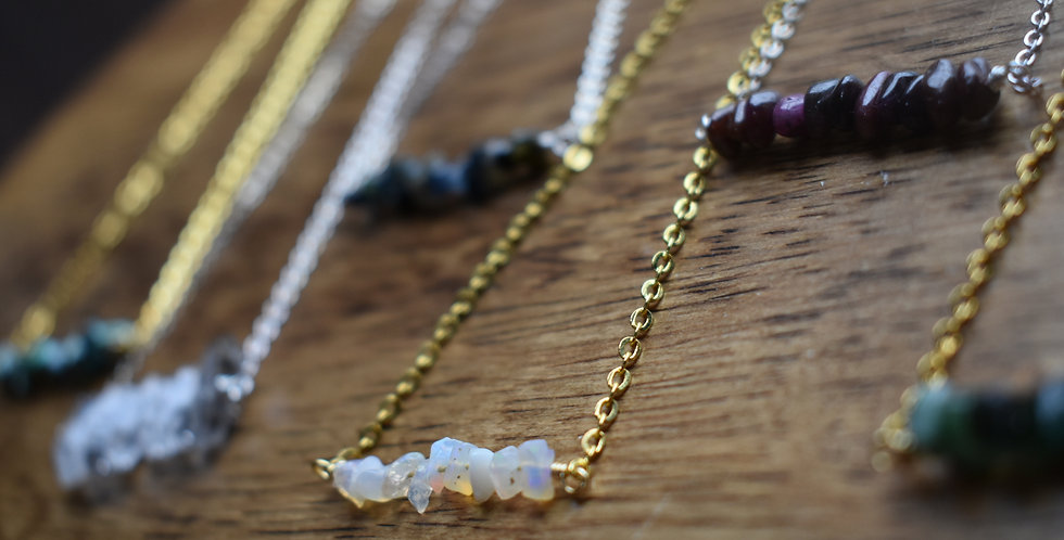 birthstone jewelry bar necklace silver - gold or copper