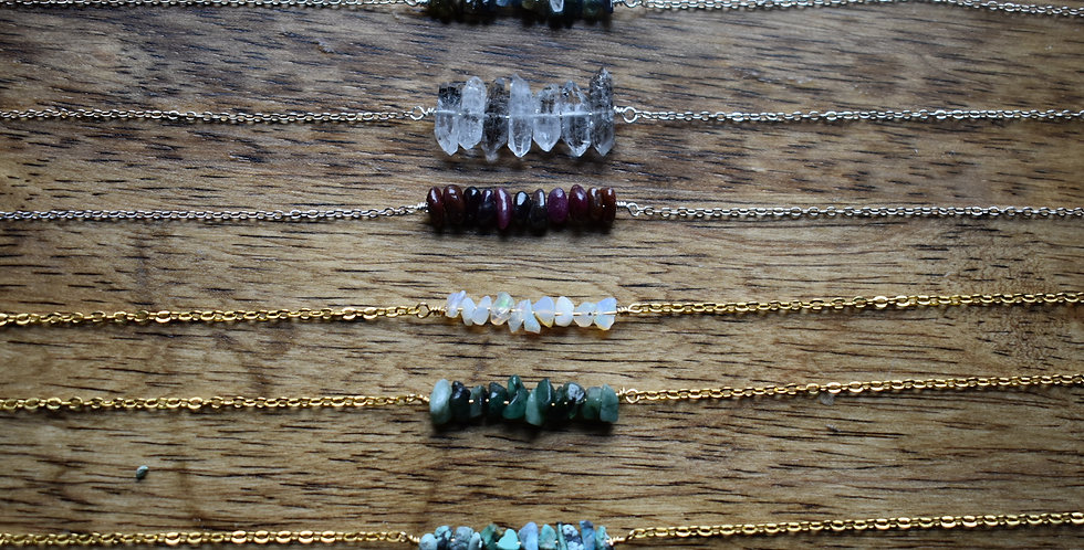 birthstone jewelry - raw crystal bracelet copper, silver or gold