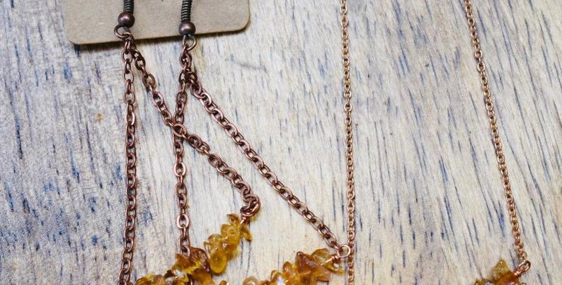 Raw Cirtine chandelier earrings - November Birthstone