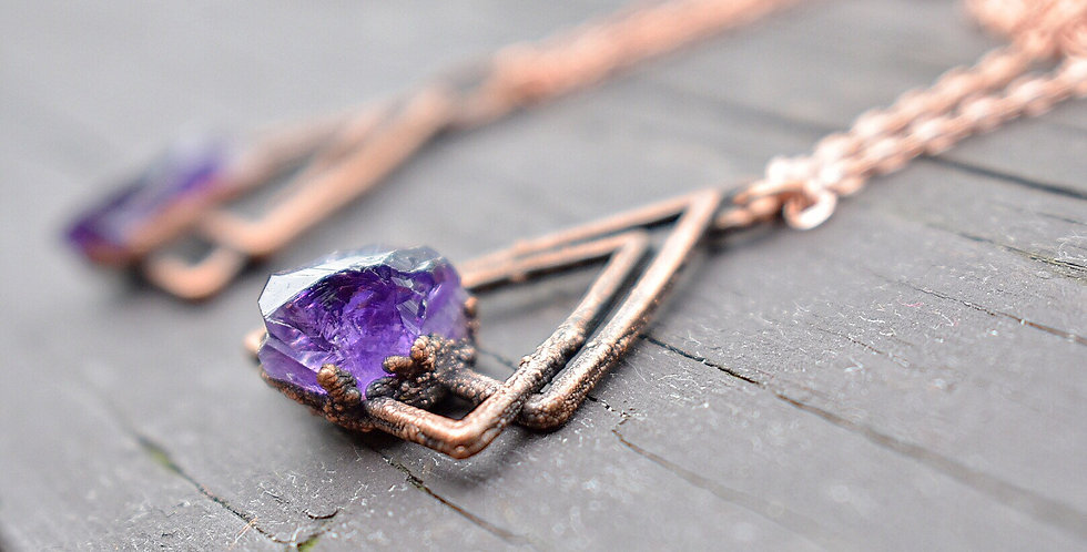 Raw Amethyst Triangle Necklace