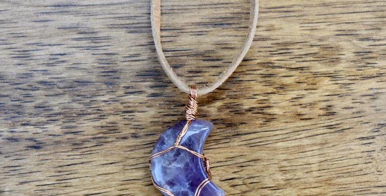 Amethyst Moon Necklace - February Birthstone