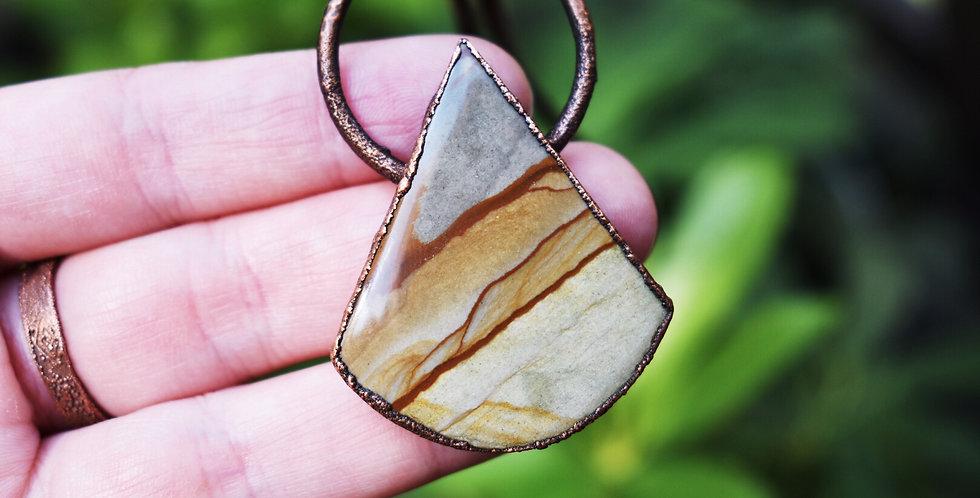 landscape jasper triangle necklace rustic copper