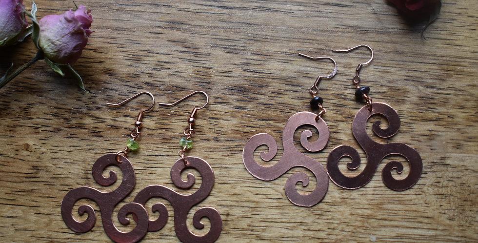 copper swirl gemstone earrings