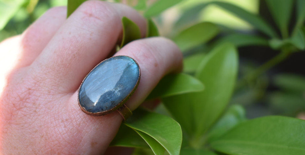 Blue labradorite statement ring raw electroformed copper gem