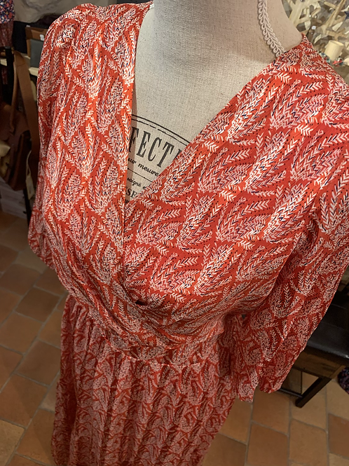 Robe longue corail 1712