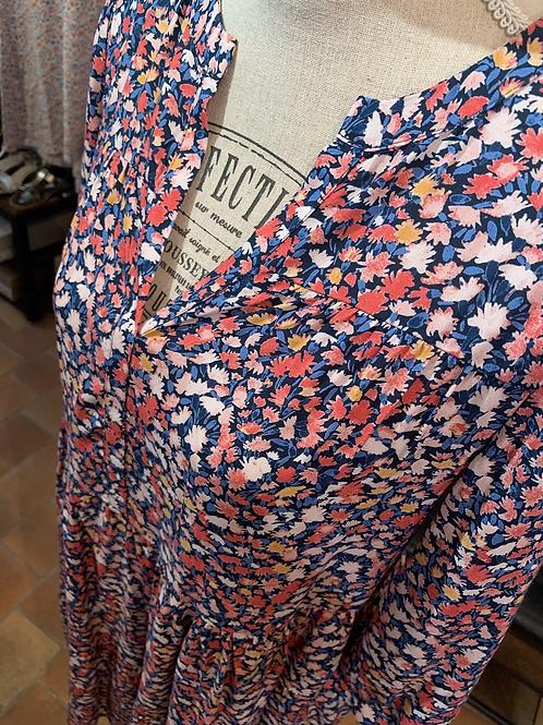 Robe marine fleurie - C'est beau la vie