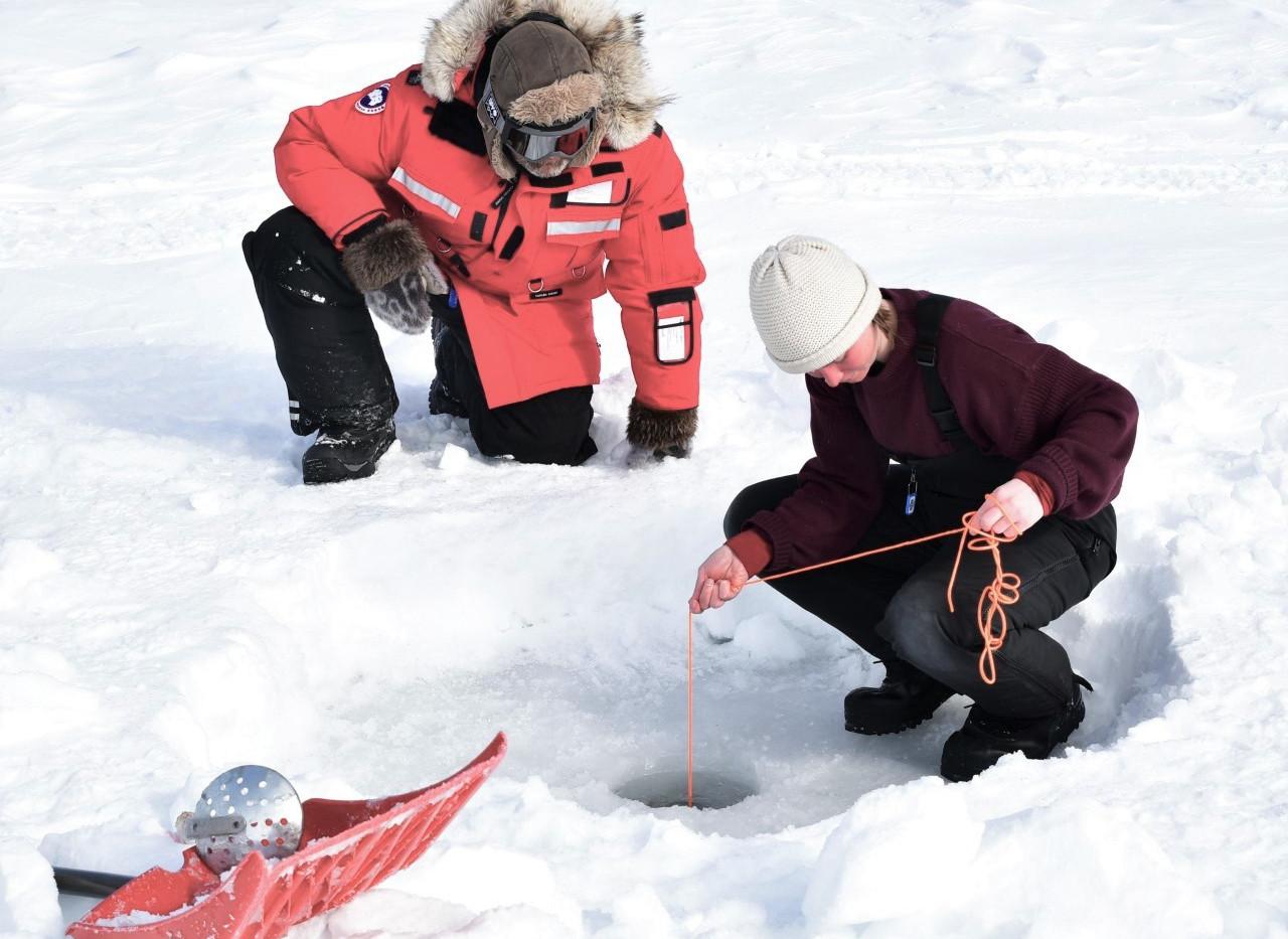 Winter sampling in Cambridge Bay, Nunavut