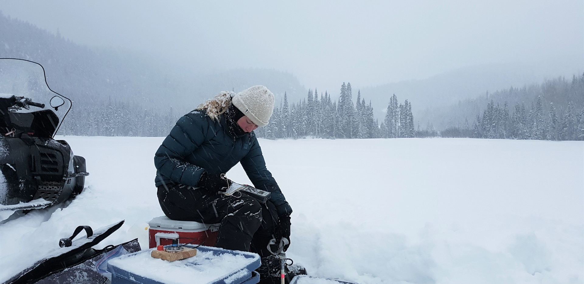 Boreal lake winter sampling