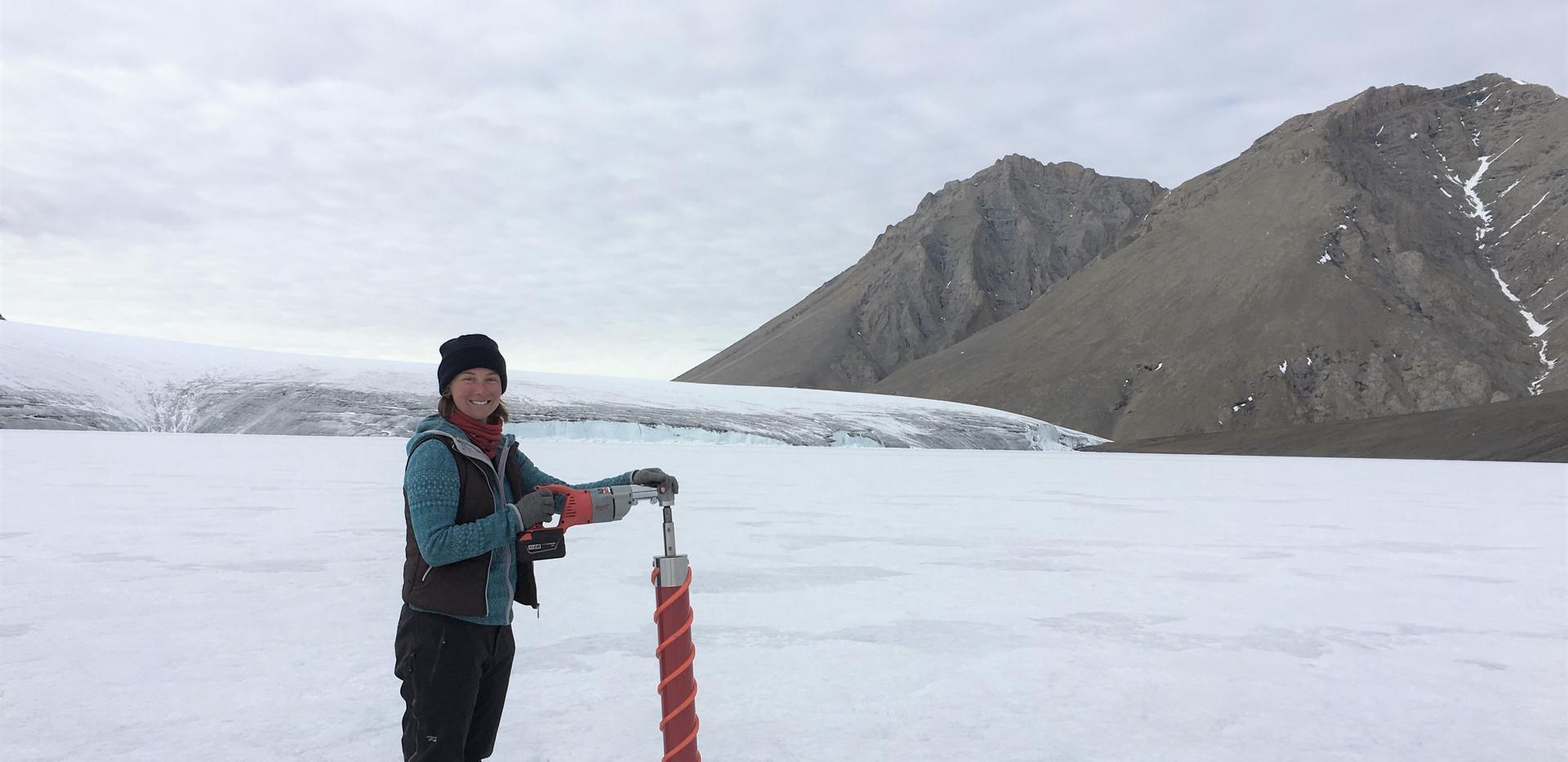 Ice sampling at Thores lake, Nunavut