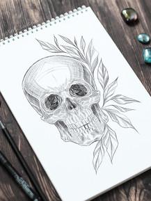 Эскиз тату графика череп