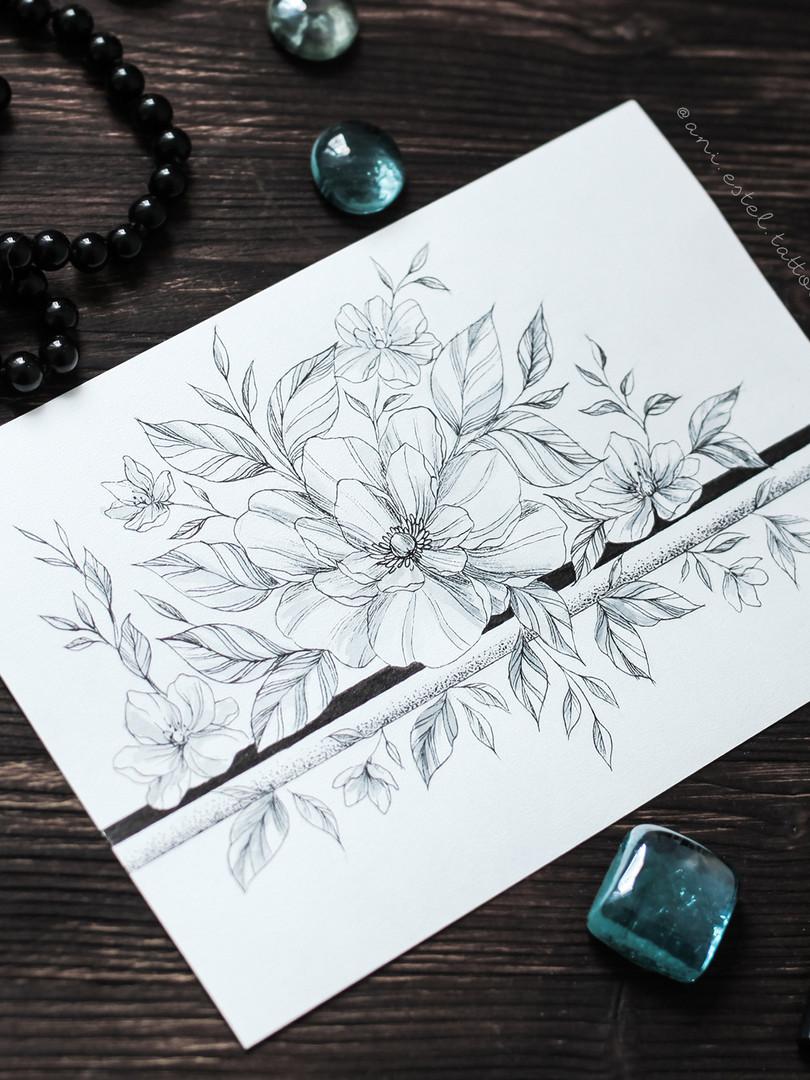 Эскиз тату графика цветочный браслет
