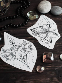 Эскиз тату графика цветы