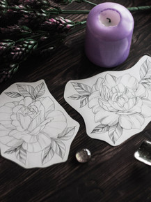 Эскиз тату графика розы