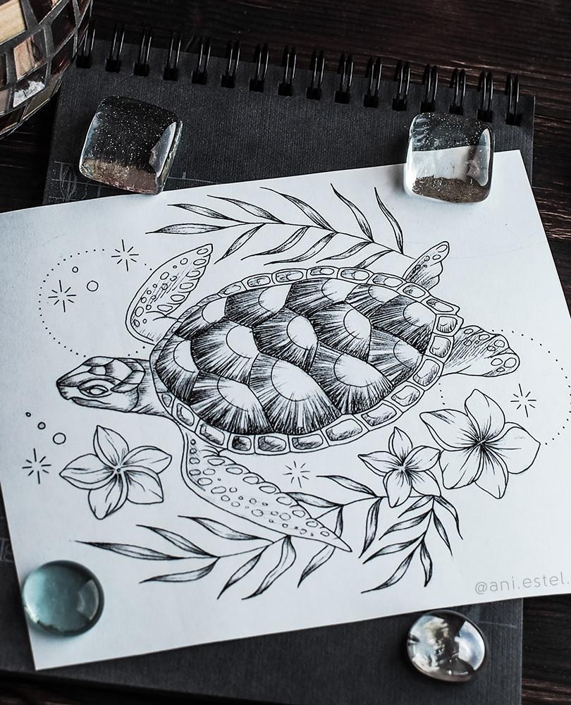 Эскиз тату графика черепаха