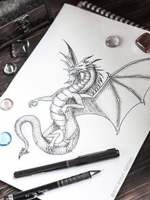 Эскиз тату графика дракон