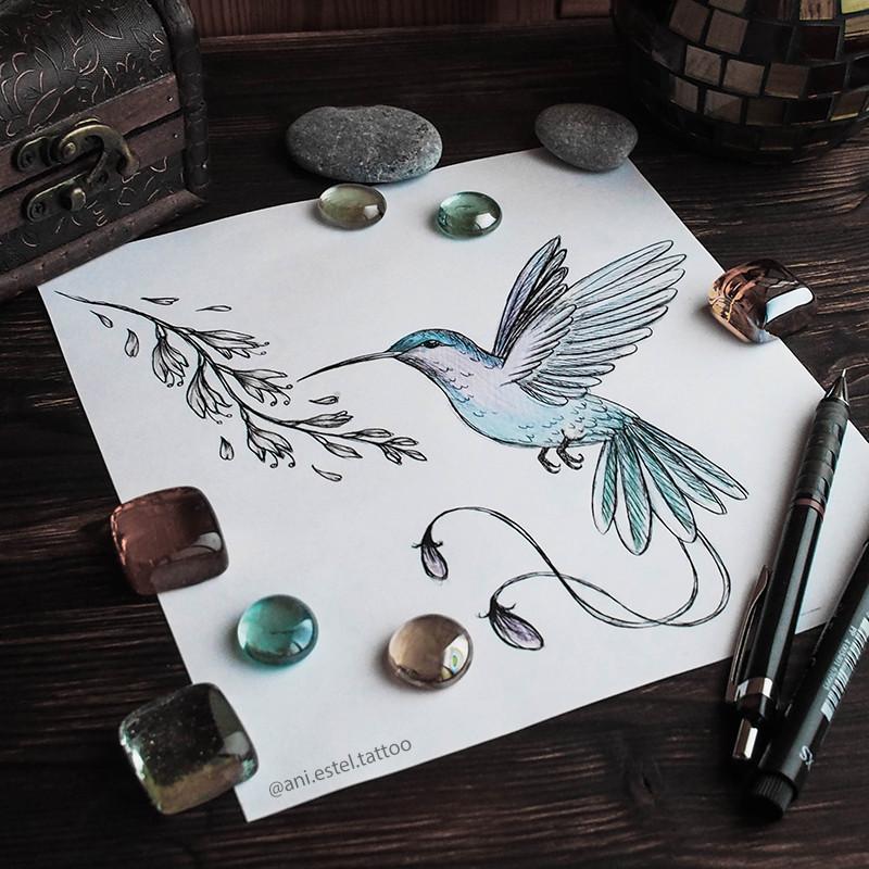 Эскиз тату графика птица колибри