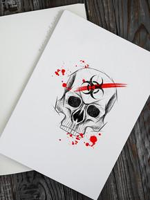 Эскиз тату череп в стиле скетч