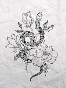 Эскиз тату графика змея