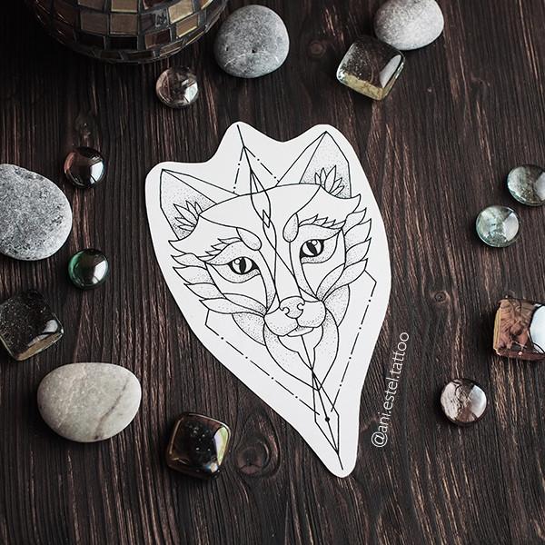 Эскиз тату геометрия волк