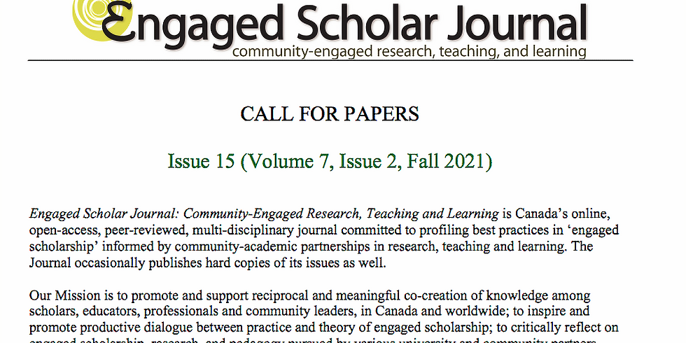 Call for Papers - Engaged Scholar Journal