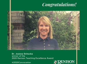 Dr. Joanna Ochocka wins 2020 teaching excellence award