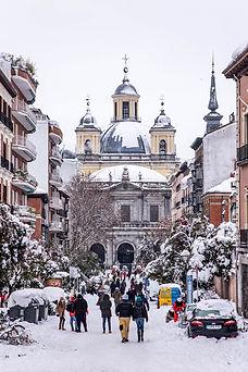 Basilica de San Francisco el Grande, La Latina, Nieve, Filomena en Madrid, España