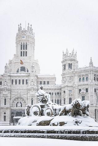 Cibeles, Correos, Ayuntamiento, Palacio de comunicaciones, Filomena en Madrid, España
