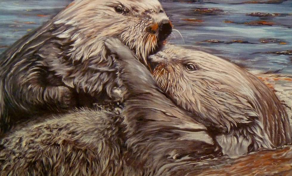 """OTTER LOVE""  print on canvas"