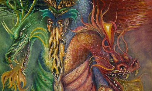 """THREE HEADED DRAGON""  print on canvas"