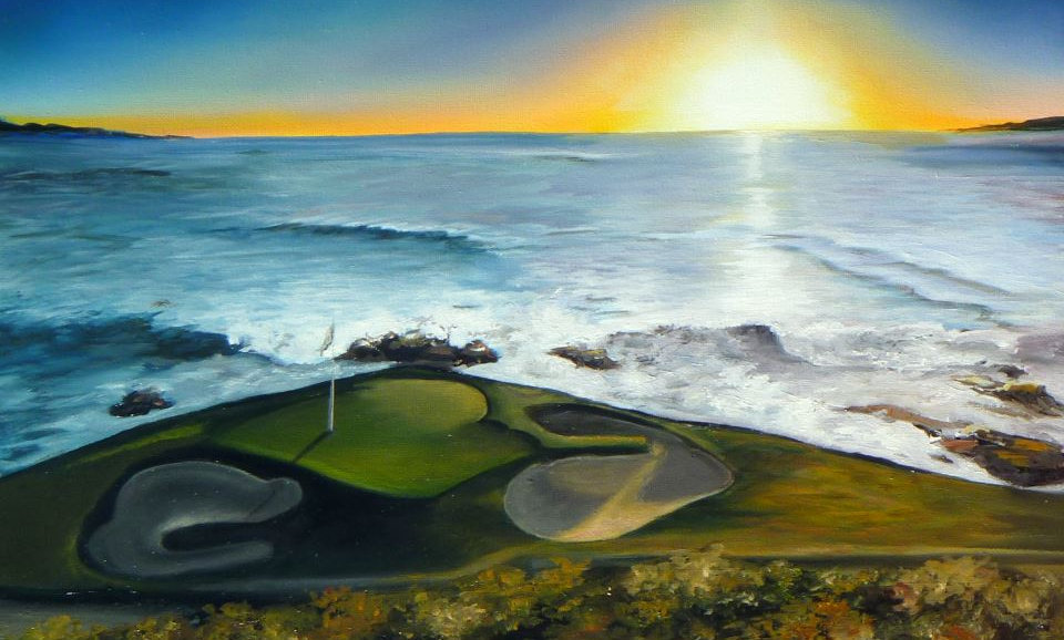 """PEBBLE BEACH  HOLE 7""  PRINT ON CANVAS"