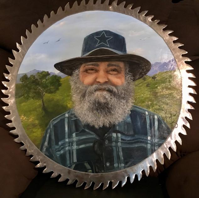 lovely memorial portrait   on big saw blade,  Oil