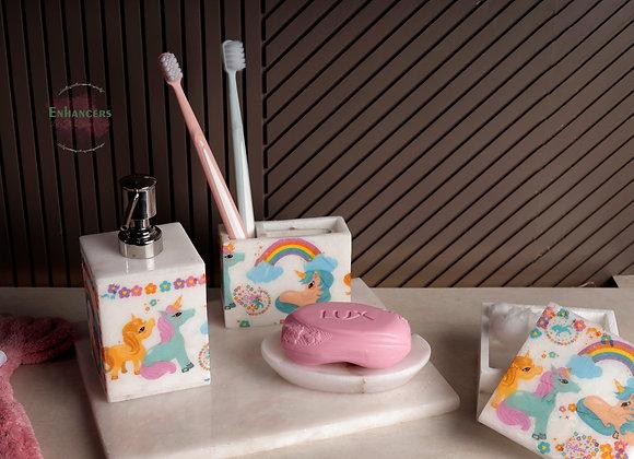 Unicorn Marble Washroom Accessories 🌈 🦄