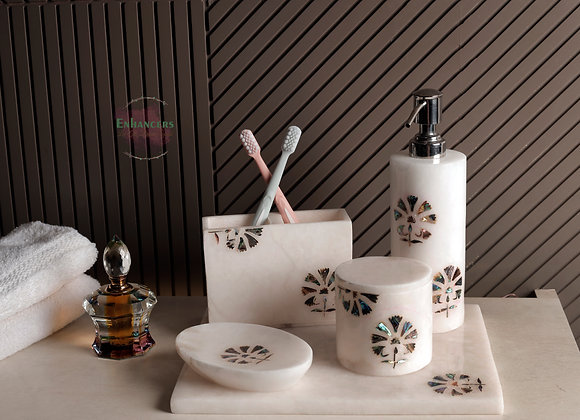 5 Piece Washroom Accessories with embedded mother of pearl work