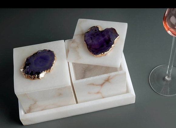 2 Boxes with agate stone