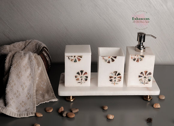 Marble Washroom Accessories with embedded mother of pearl work