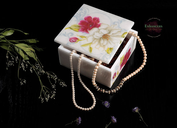 Red and white flower print multi purpose box