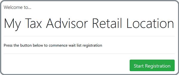 Screenshot of Self Service Kiosk waitlist registration